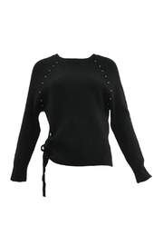 Femme Fatale Ribbed Sweater w Side Tie & Metal Pearls - Front cropped