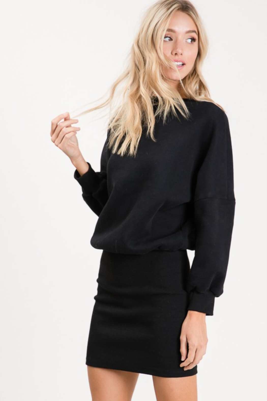 Olivaceous  Ribbed Sweatshirt Dress - Front Full Image