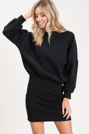 Olivaceous  Ribbed Sweatshirt Dress - Product Mini Image