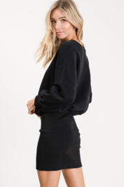 Olivaceous  Ribbed Sweatshirt Dress - Back cropped