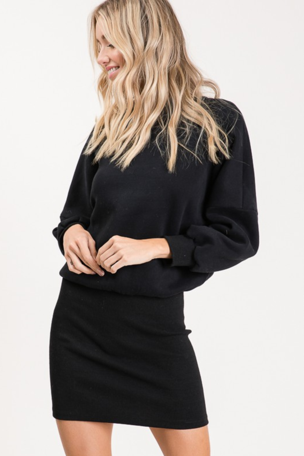 Olivaceous  Ribbed Sweatshirt Dress - Side Cropped Image