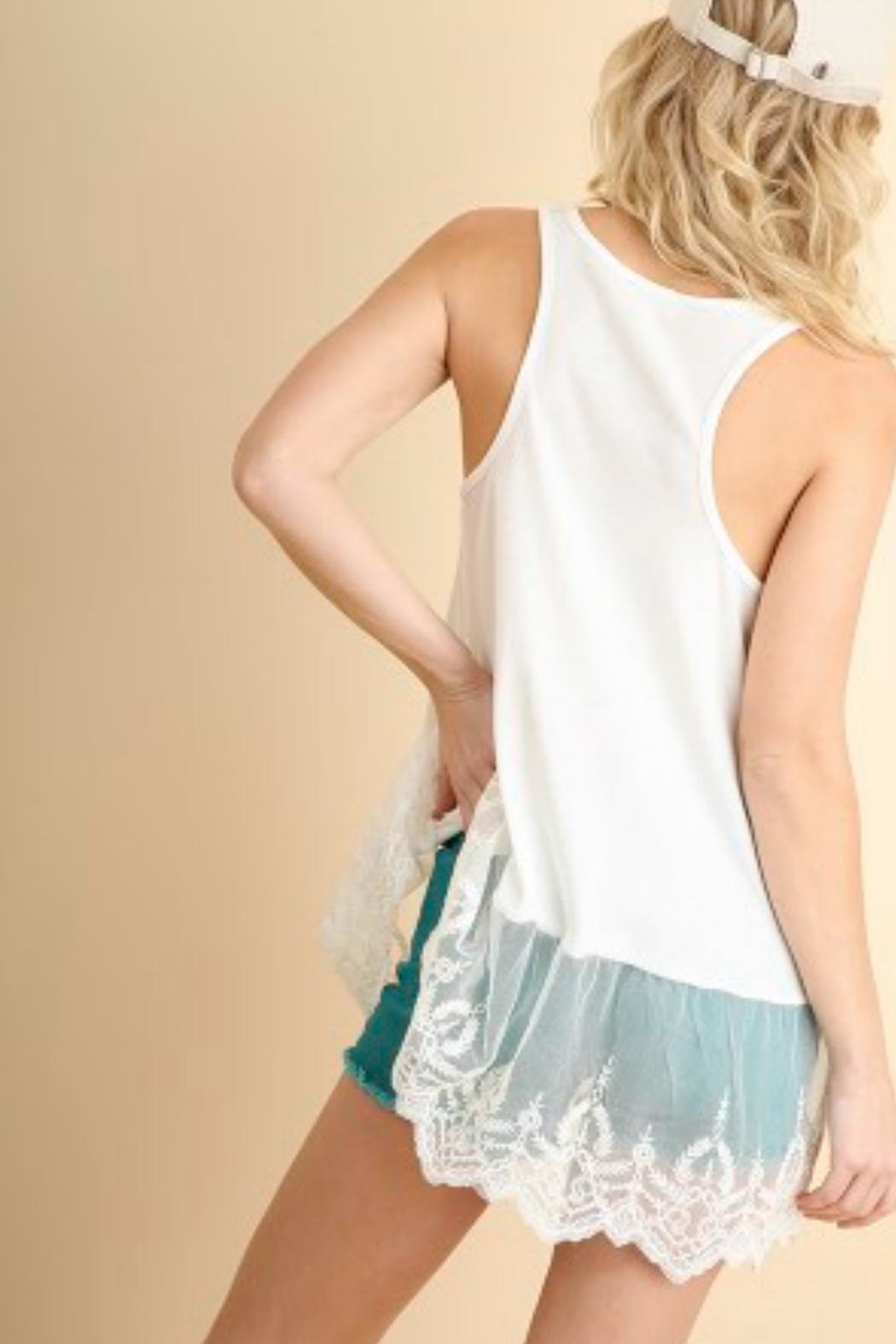 Umgee USA Ribbed Tank W/lace - Front Full Image