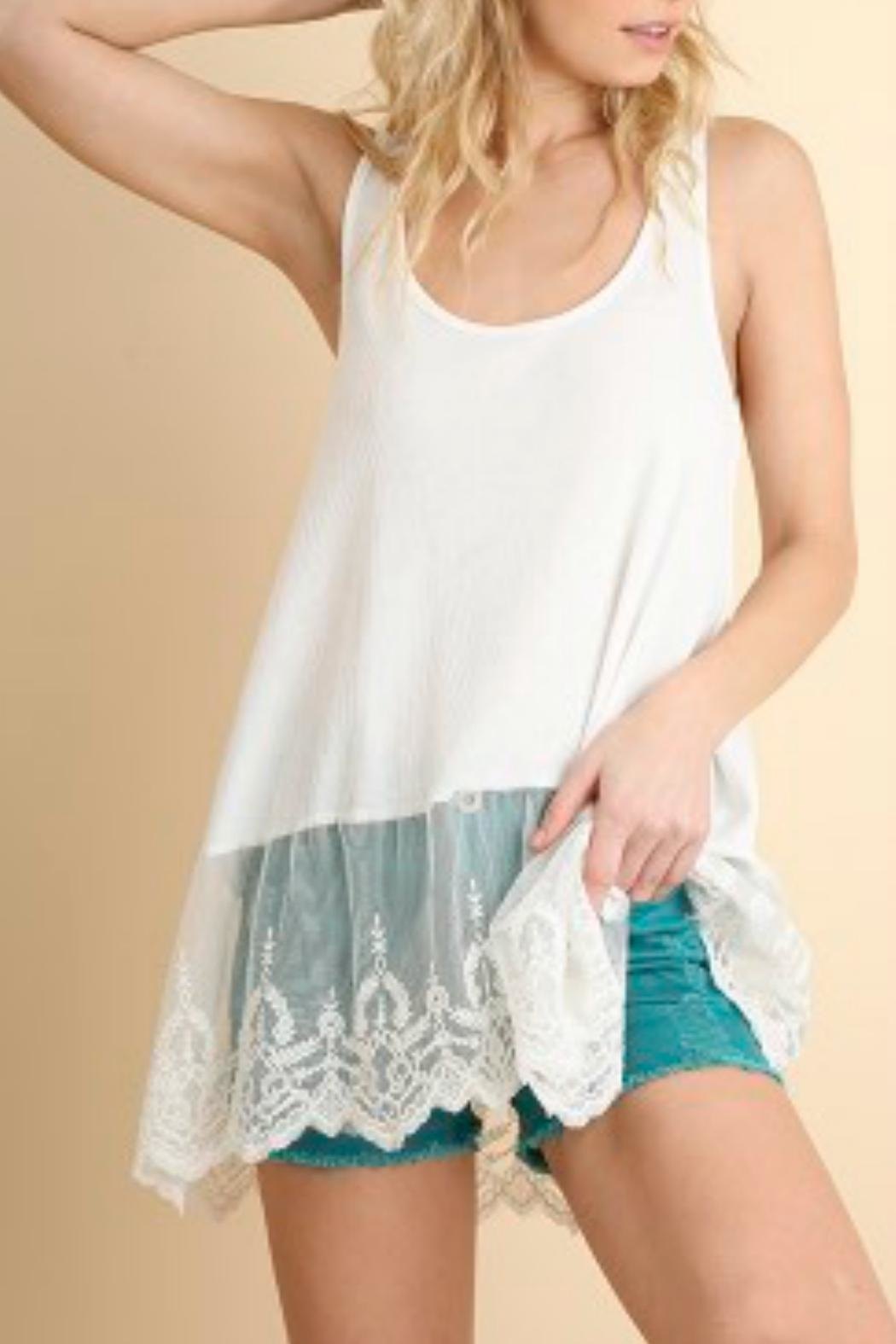 Umgee USA Ribbed Tank W/lace - Front Cropped Image