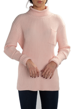 Femme Fatale Ribbed Turtleneck Crop Sweater w Pockets - Product List Image