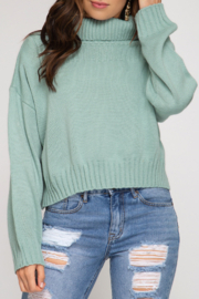 She and Sky Ribbed Turtleneck Sweater Top - Product Mini Image