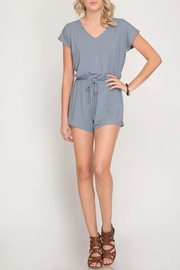 She + Sky Ribbed V-Neck Romper - Product Mini Image