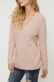 Peach Love California Ribbed V-Neck Sweater - Product Mini Image