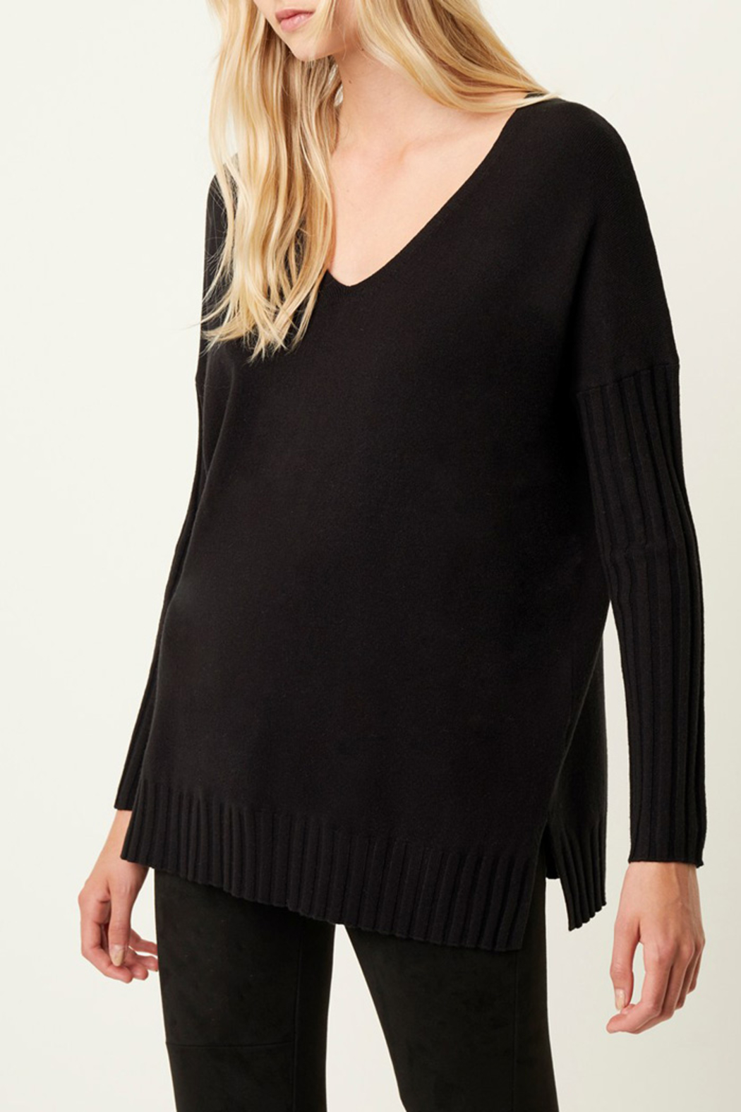 French Connection RIBBED V NECK SWEATER - Main Image