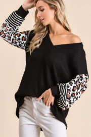 Bibi Ribbed V Neck Sweater with Leopard Print Puff Sleeves - Front full body