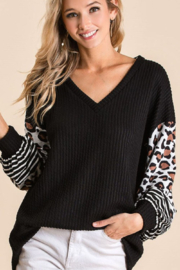 Bibi Ribbed V Neck Sweater with Leopard Print Puff Sleeves - Front cropped