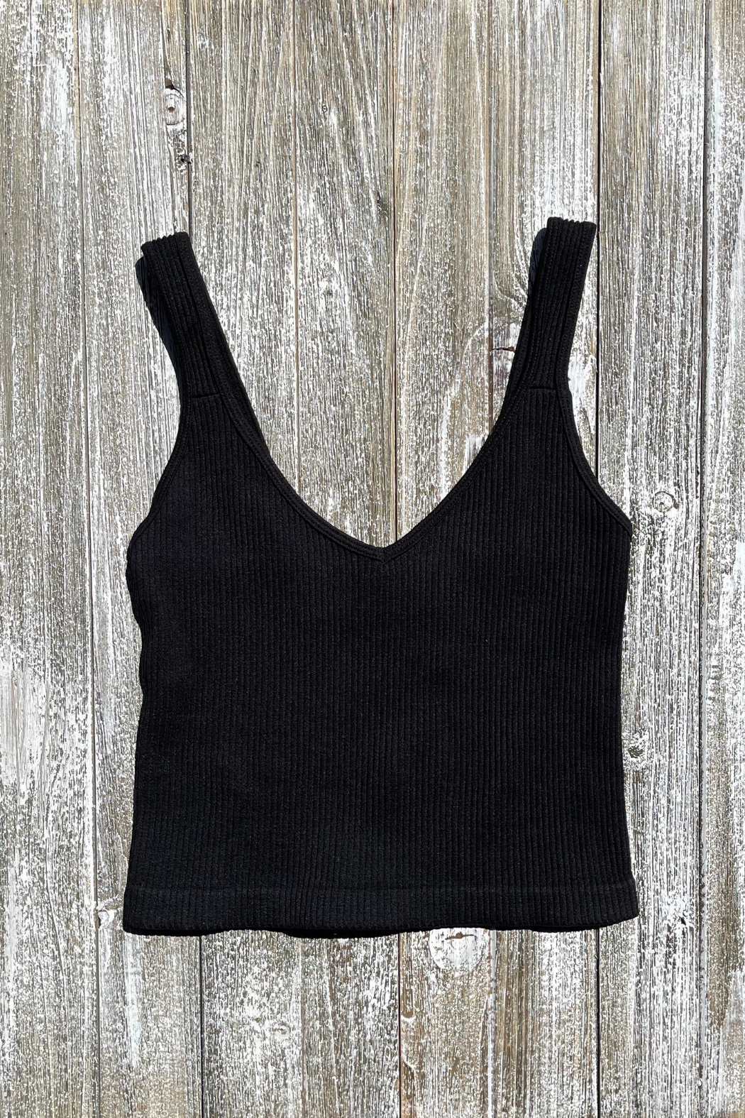 Dynamic Fashion Ribbed V Neck Thick Strap Brami - Side Cropped Image