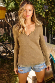 Ces Femme  Ribbed V Neck Top - Product Mini Image