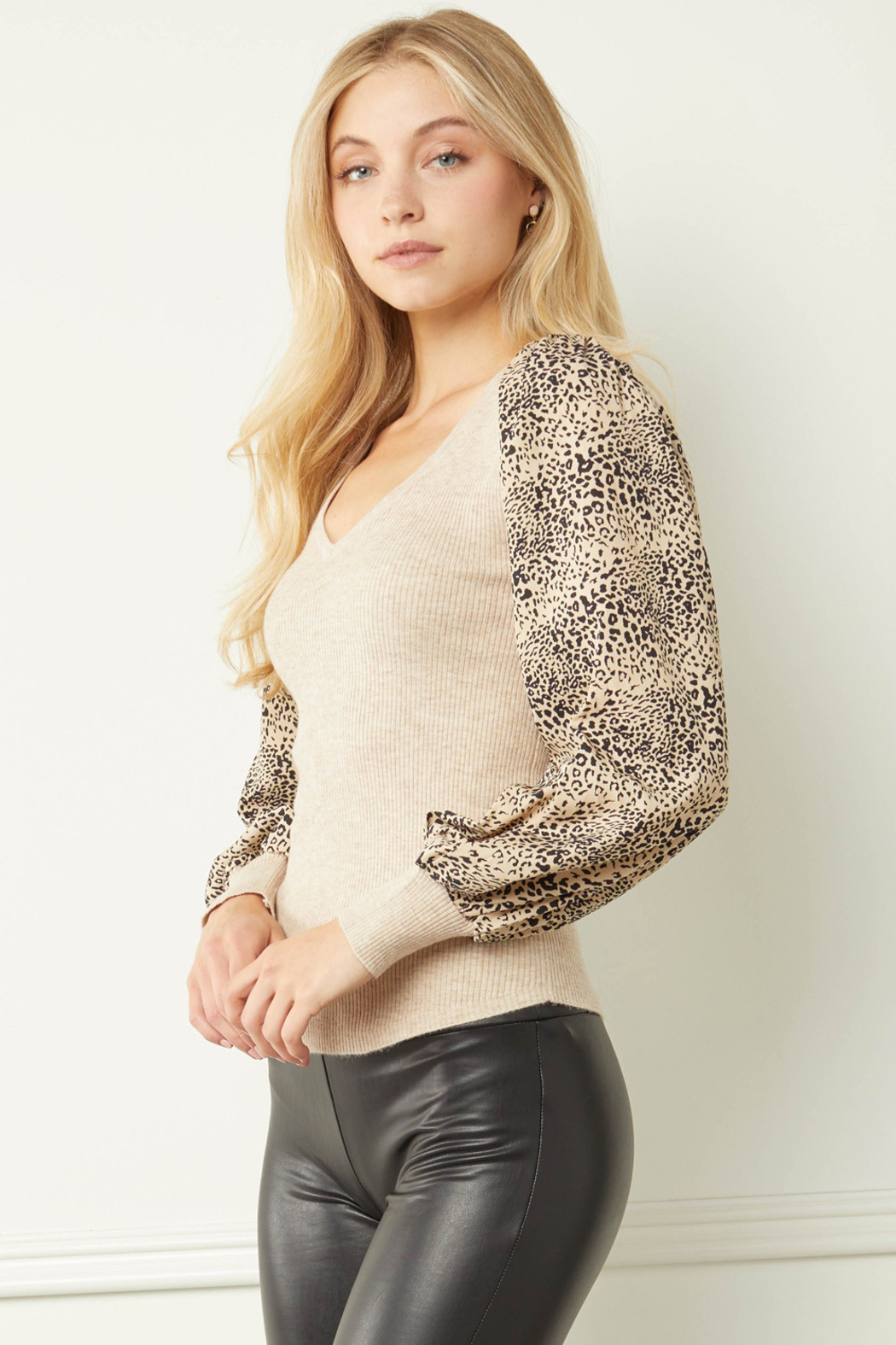 entro  Ribbed V-neck Top with Leopard Print Sleeves - Front Full Image