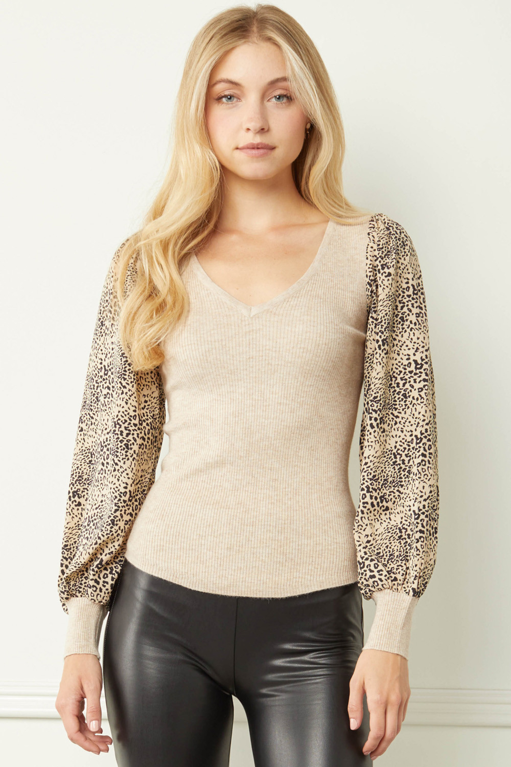 entro  Ribbed V-neck Top with Leopard Print Sleeves - Front Cropped Image