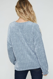 Peach Love California Ribbed Velour Pullover - Back cropped