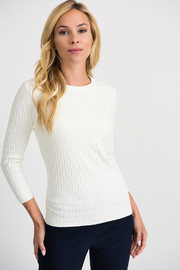 Joseph Ribkoff  Ribbed Weave Sweater, Vanilla - Product Mini Image