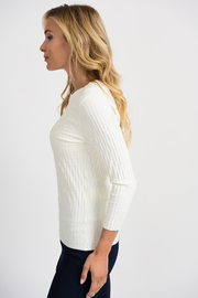 Joseph Ribkoff  Ribbed Weave Sweater, Vanilla - Front full body