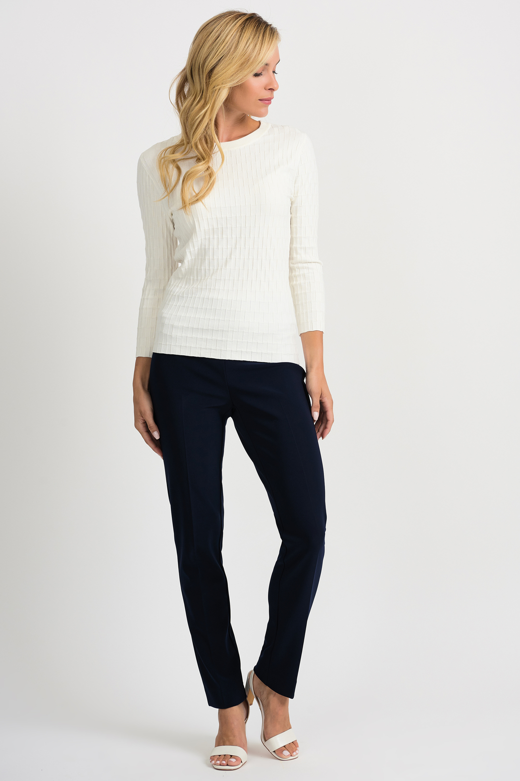 Joseph Ribkoff  Ribbed Weave Sweater, Vanilla - Back Cropped Image