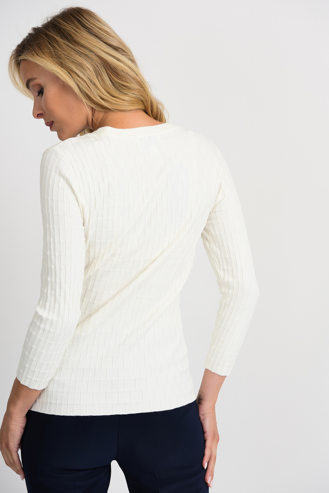 Joseph Ribkoff  Ribbed Weave Sweater, Vanilla - Side Cropped Image