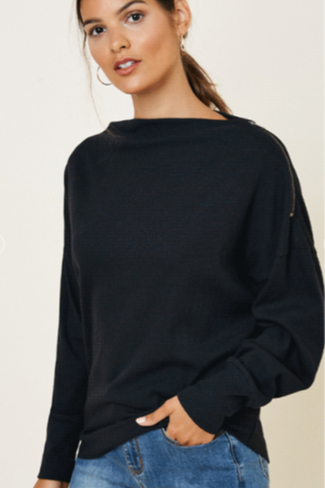 Hayden Los Angeles Ribbed Zipper Shoulder Knit Top - Back Cropped Image