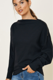 Hayden Los Angeles Ribbed Zipper Shoulder Knit Top - Back cropped