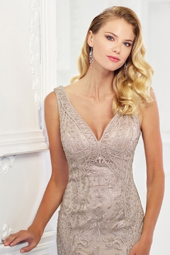 Montage Ribbon Lace Gown, Stone - Alternate List Image