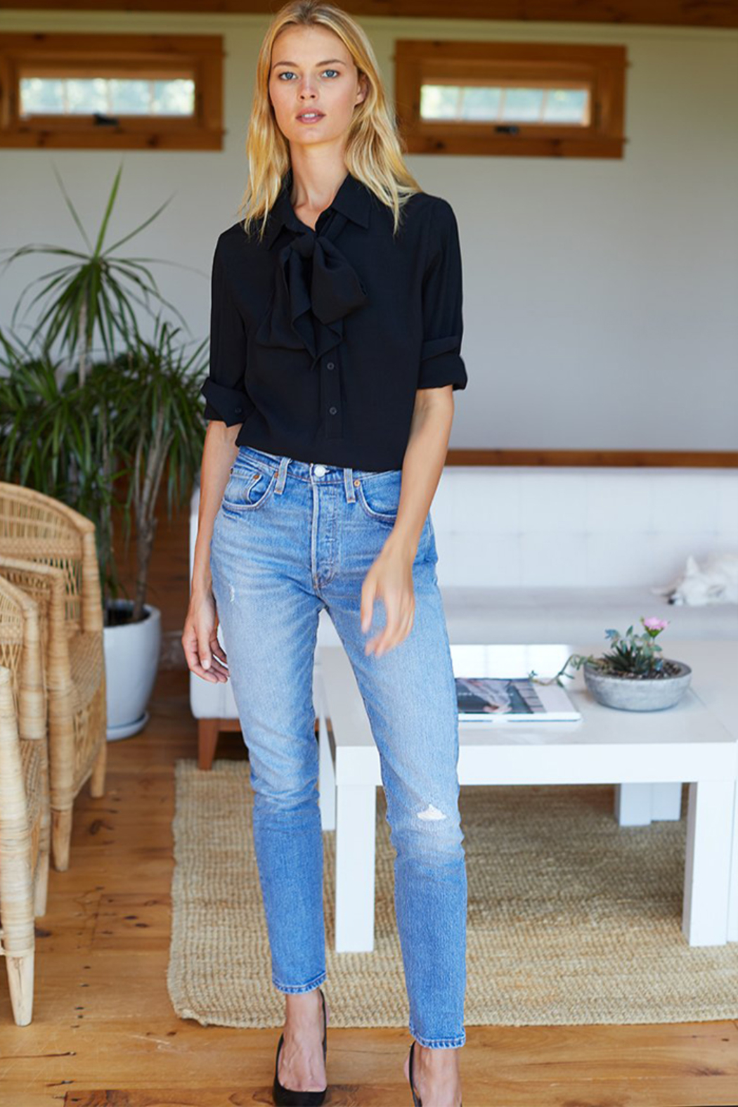 Emerson Fry RIBBON'S NECK TIE BLOUSE - Front Full Image