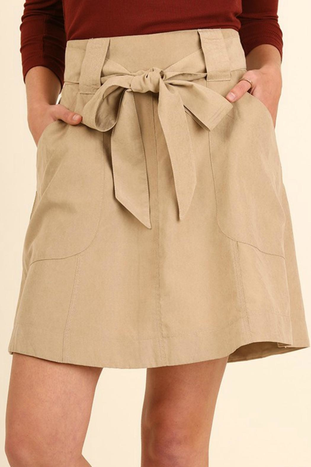Umgee USA Ribbon-Tie A-Line Skirt - Front Full Image