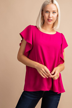 FSL Apparel Ribbon Tie Back Top with Ruffle Sleeve - Product List Image