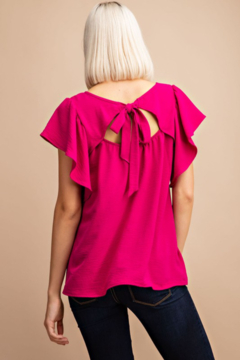 FSL Apparel Ribbon Tie Back Top with Ruffle Sleeve - Alternate List Image