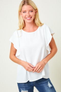 Shoptiques Product: Ribbon Tie Back Top with Ruffle Sleeve