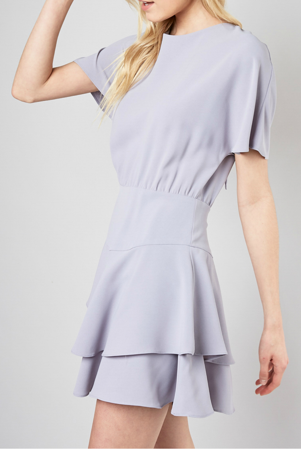 Do & Be Ribbon tie fit and flare dress - Side Cropped Image