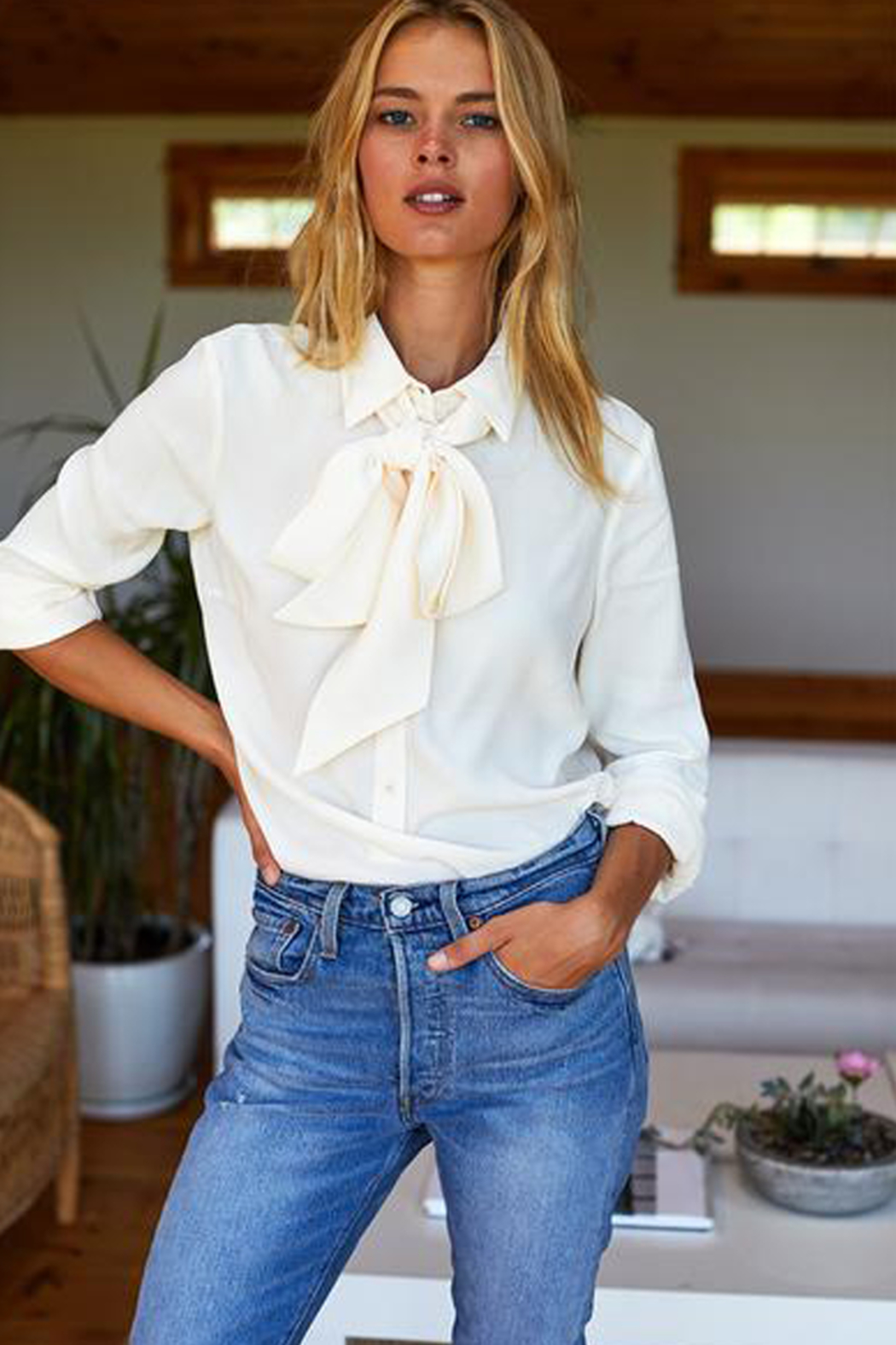 Emerson Fry RIBBONS NECK TIE BLOUSE - Front Full Image