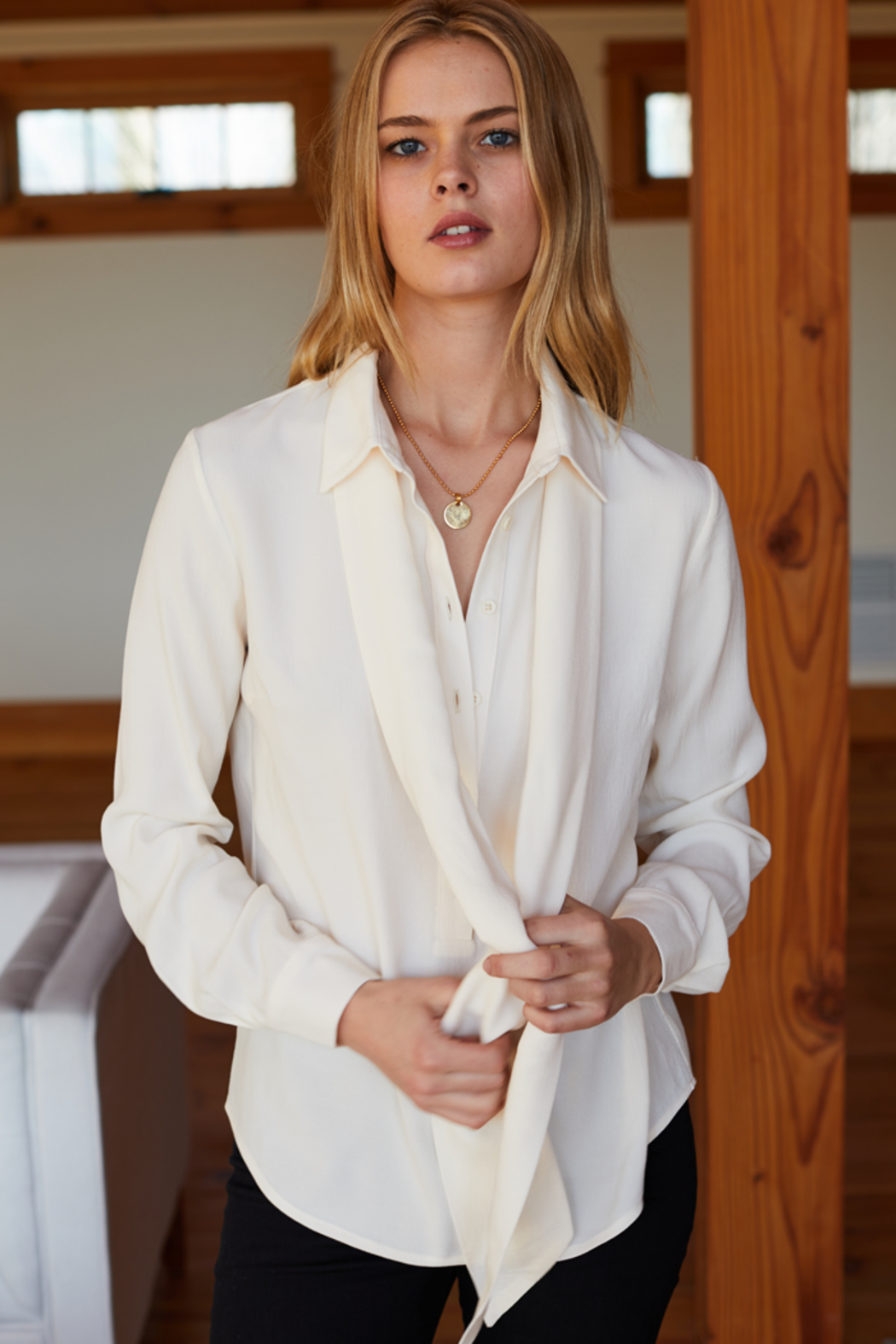 Emerson Fry RIBBONS NECK TIE BLOUSE - Side Cropped Image