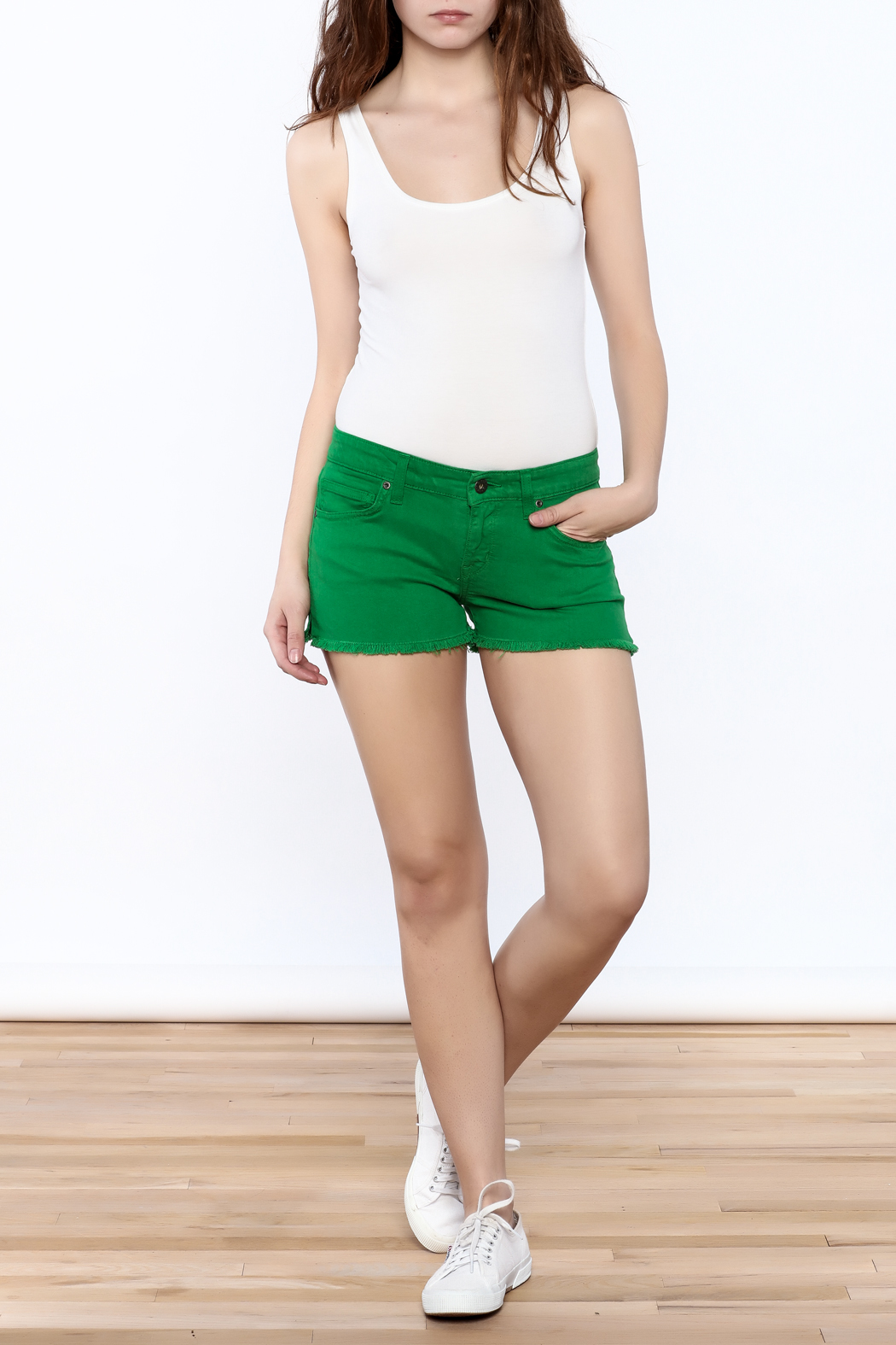Rich & Skinny Green Venice Shorts - Front Full Image