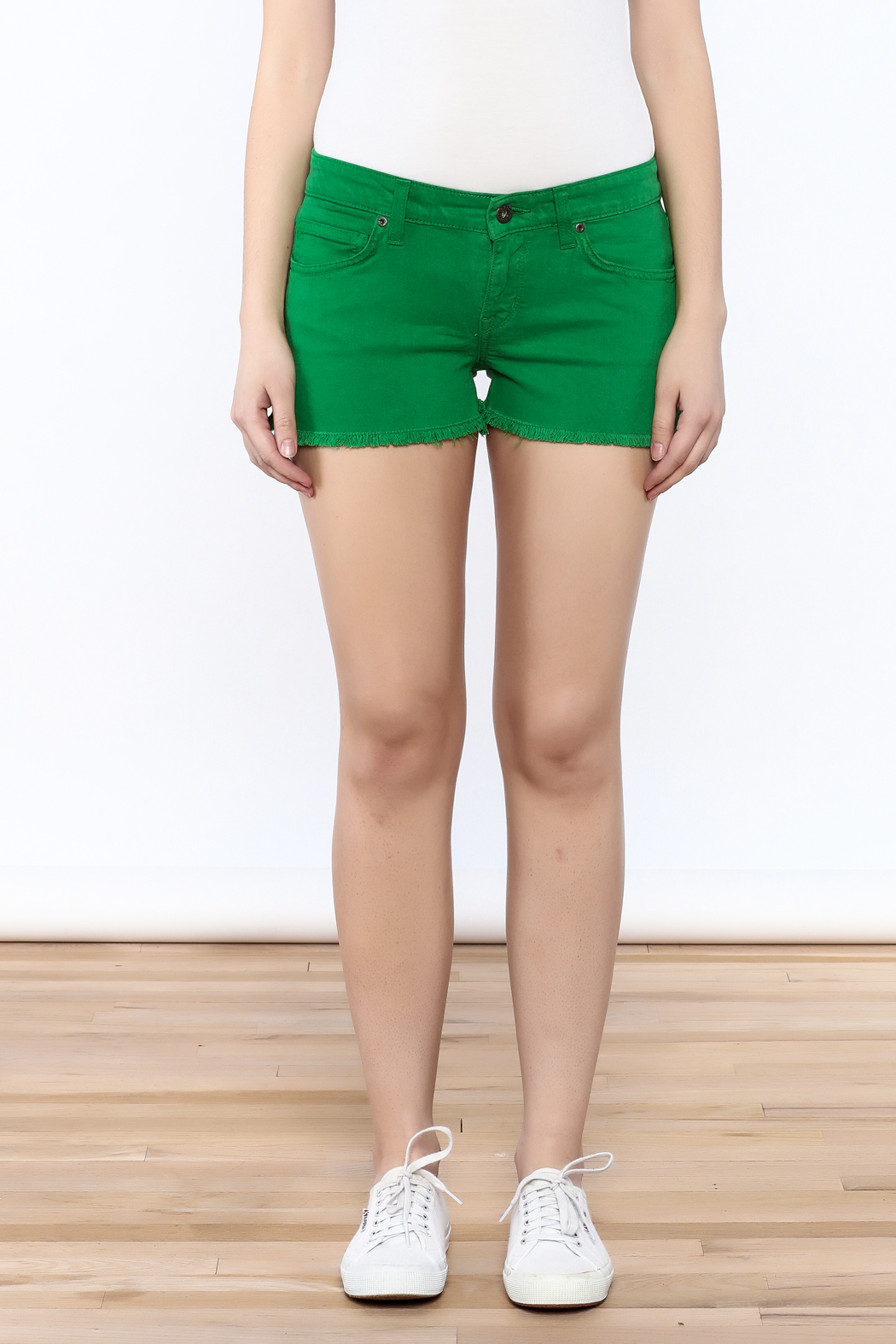 Rich & Skinny Green Venice Shorts - Side Cropped Image