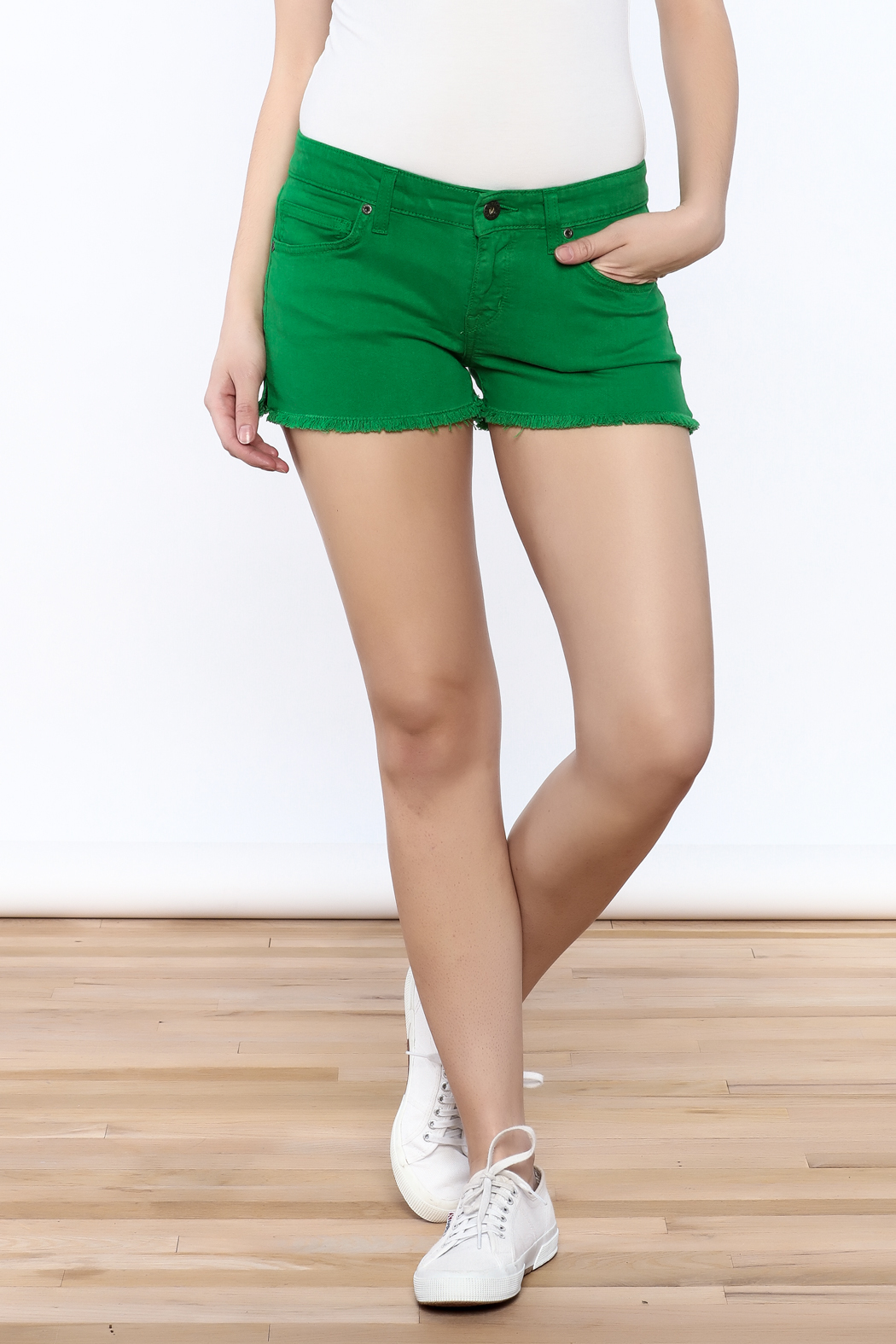 Rich & Skinny Green Venice Shorts - Front Cropped Image
