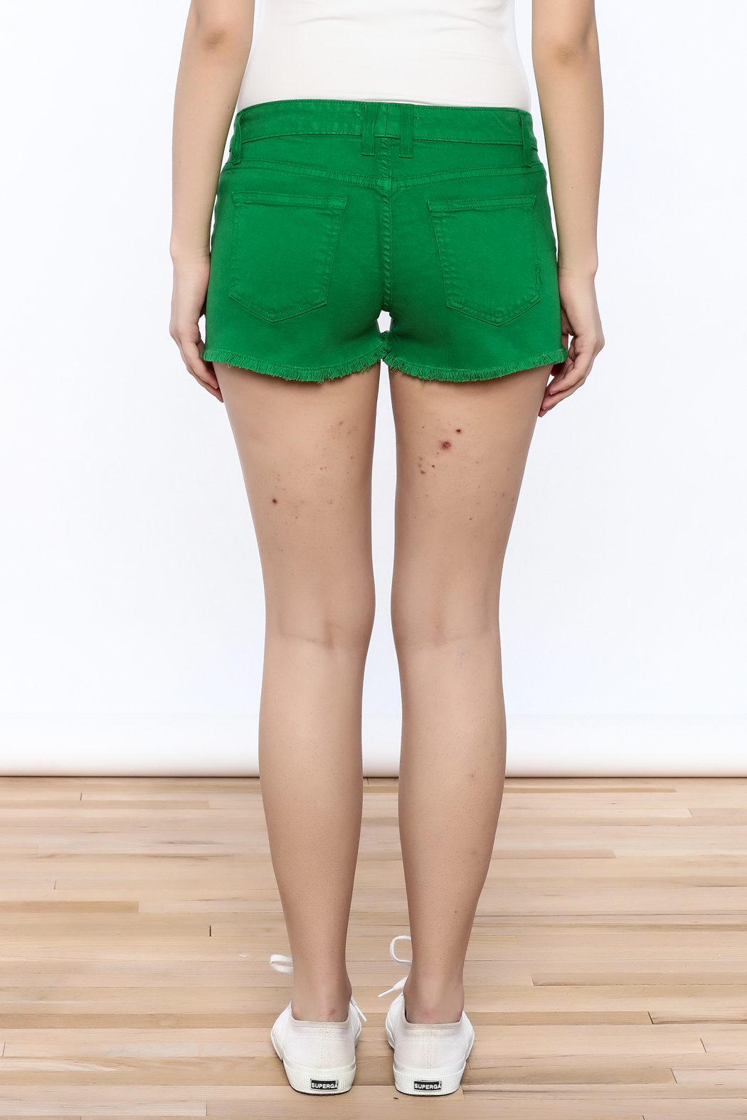 Rich & Skinny Green Venice Shorts - Back Cropped Image