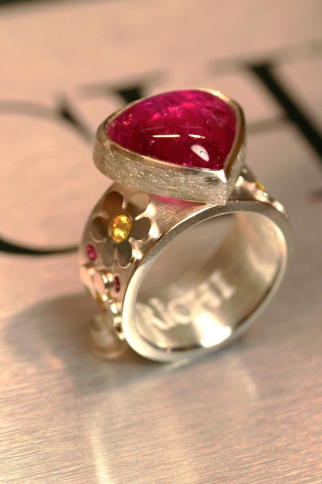 Richi Atelier Rubelite Flower Ring - Front Cropped Image