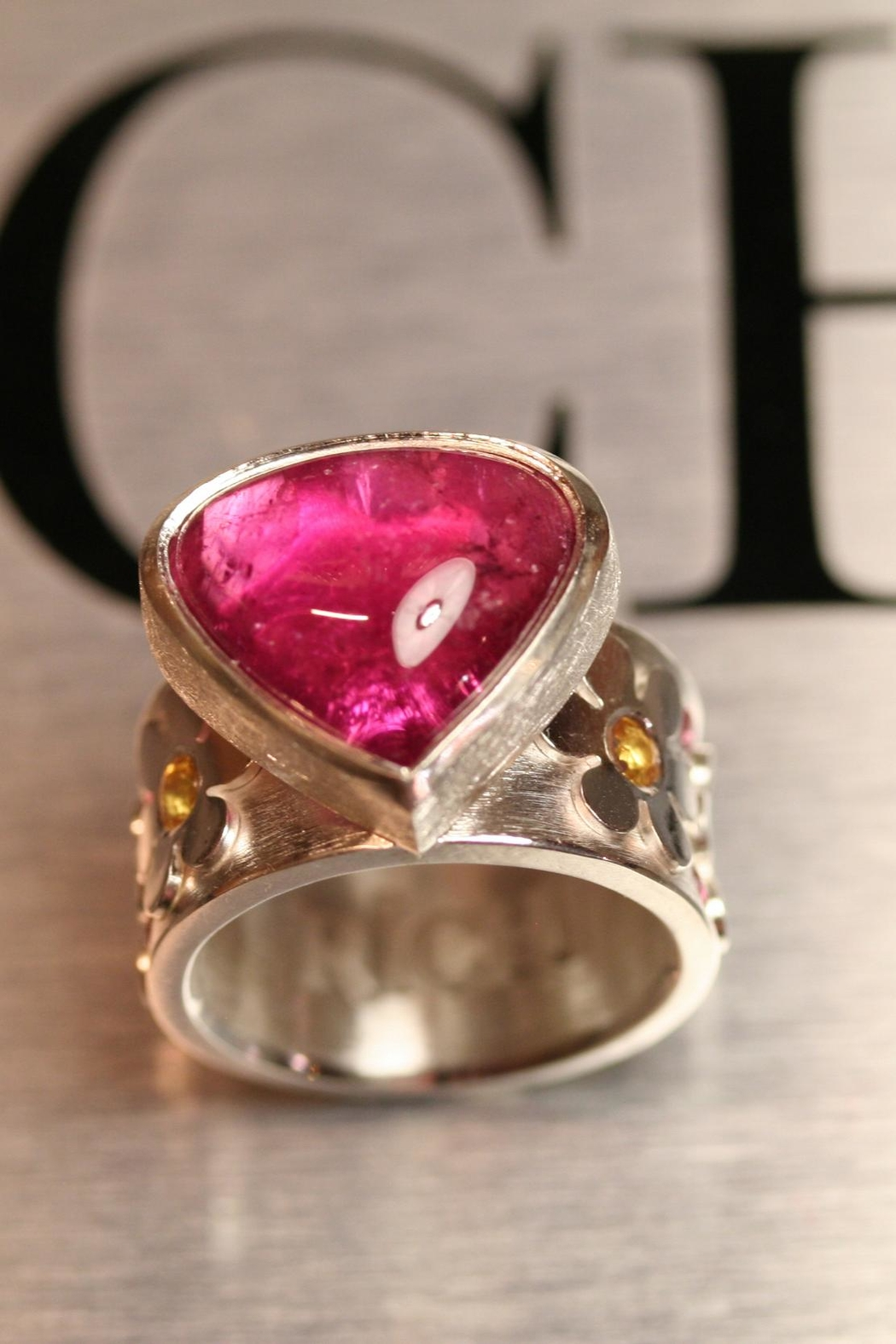 Richi Atelier Rubelite Flower Ring - Side Cropped Image