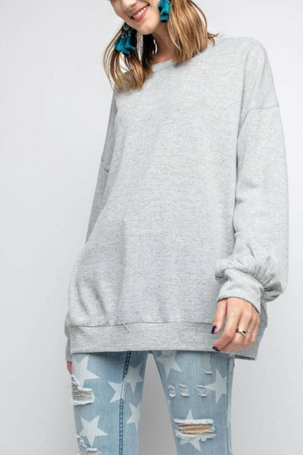 easel Rickie Pullover Sweatshirt - Side Cropped Image