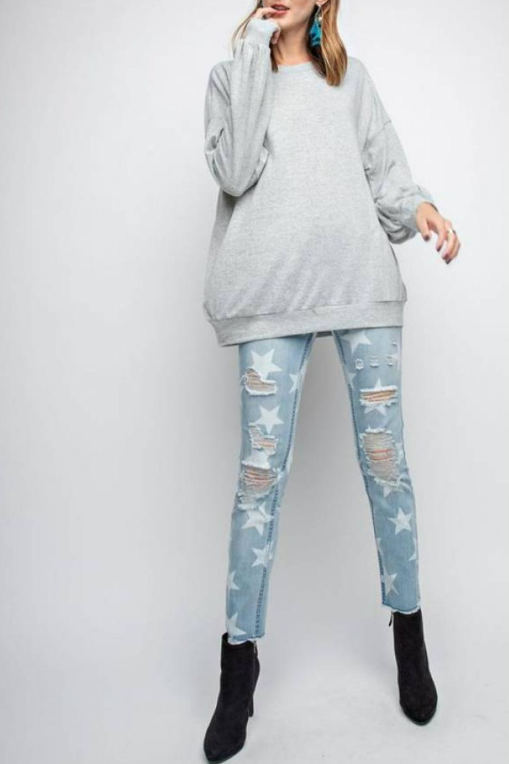 easel Rickie Pullover Sweatshirt - Back Cropped Image