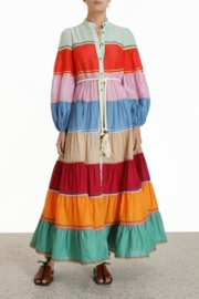 Zimmermann Riders Multi Stripe Tiered Dress - Product Mini Image