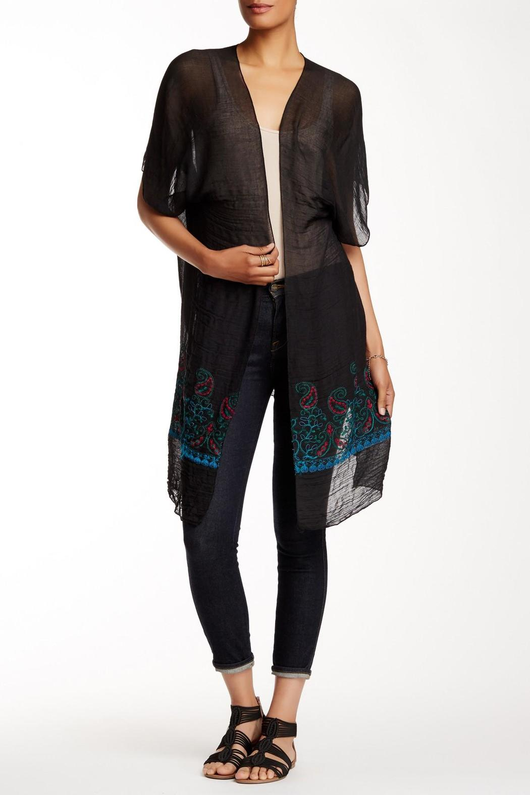Rikka Sheer Black Long Cardigan - Front Cropped Image