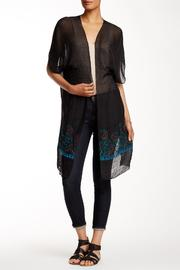 Rikka Sheer Black Long Cardigan - Front cropped
