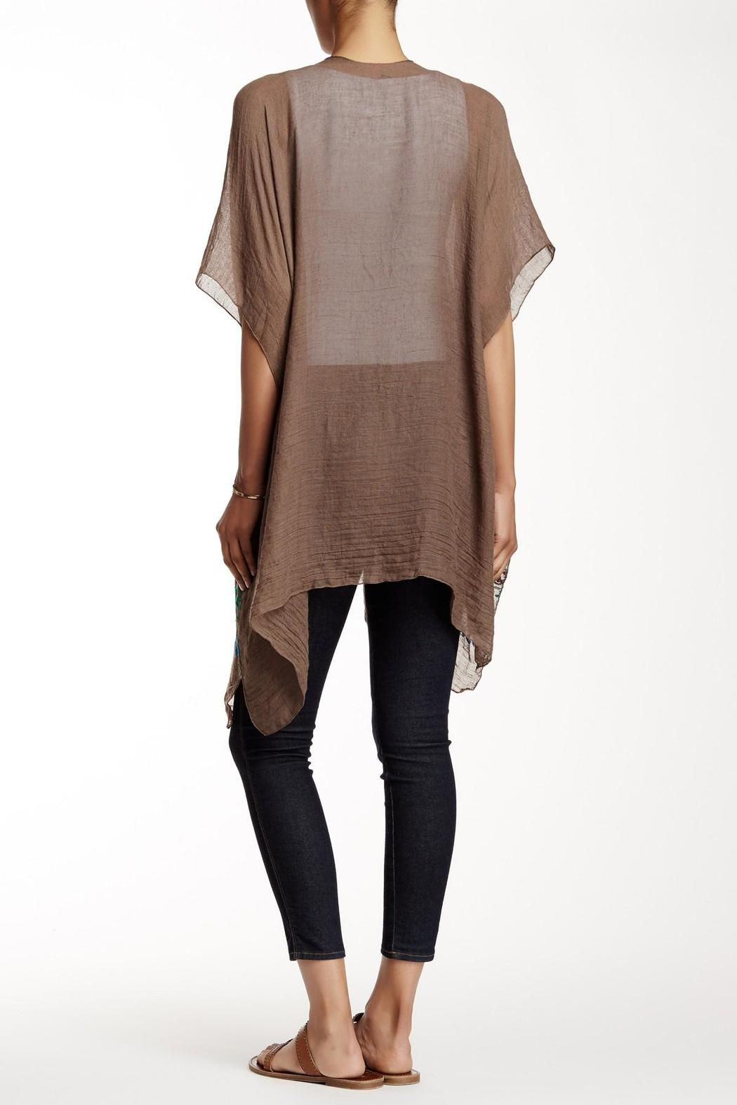 Rikka Sheer Brown Long Cardigan - Front Full Image