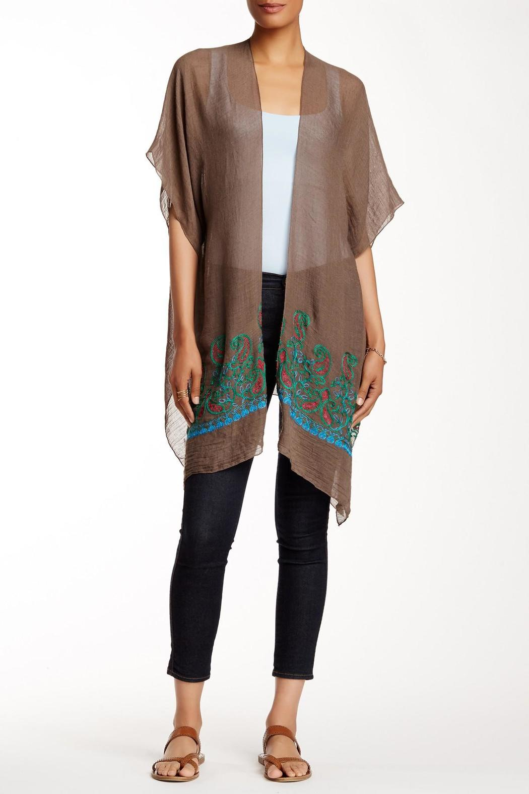 Rikka Sheer Brown Long Cardigan - Main Image