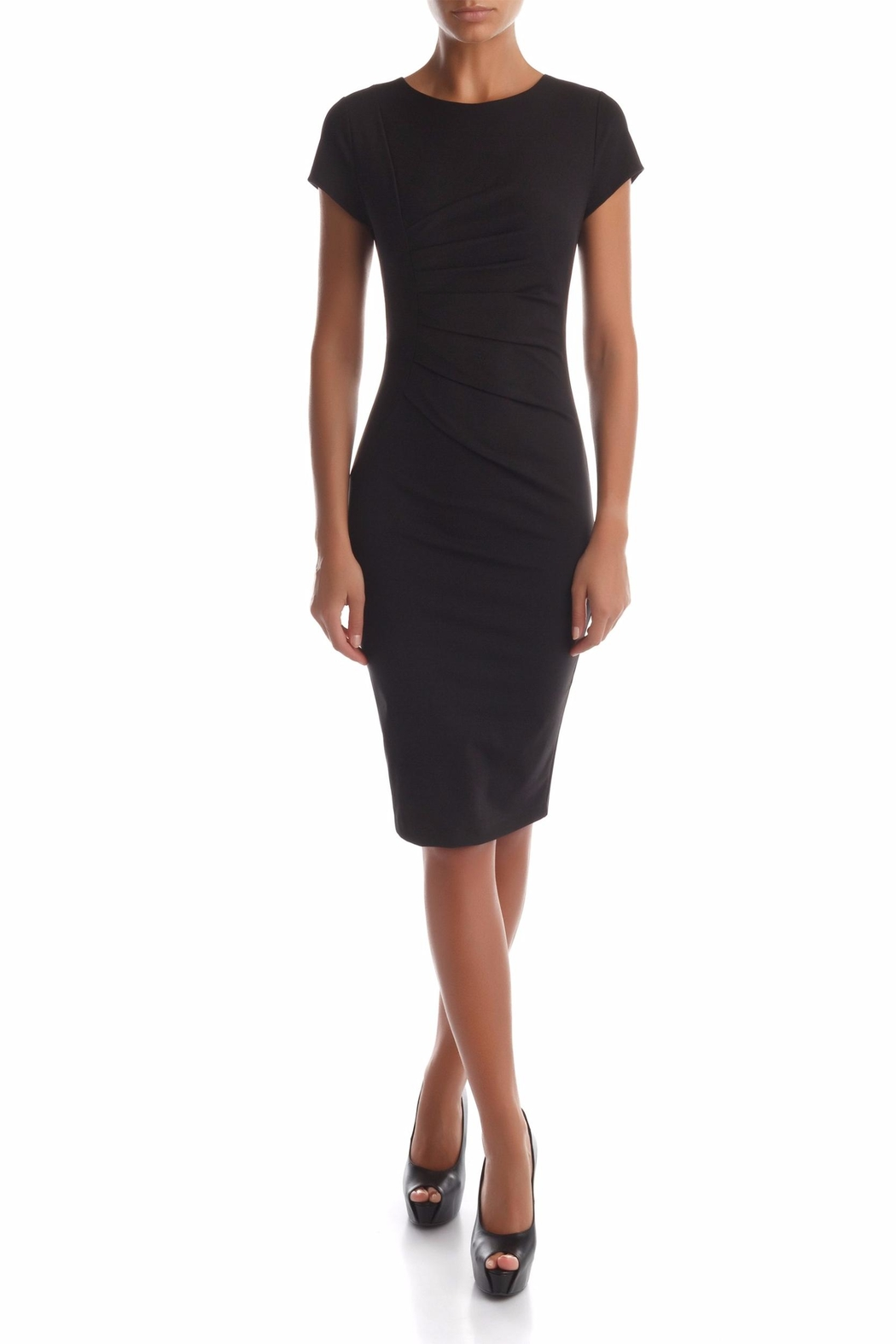 Rinascimento Black Ruche Dress - Front Cropped Image