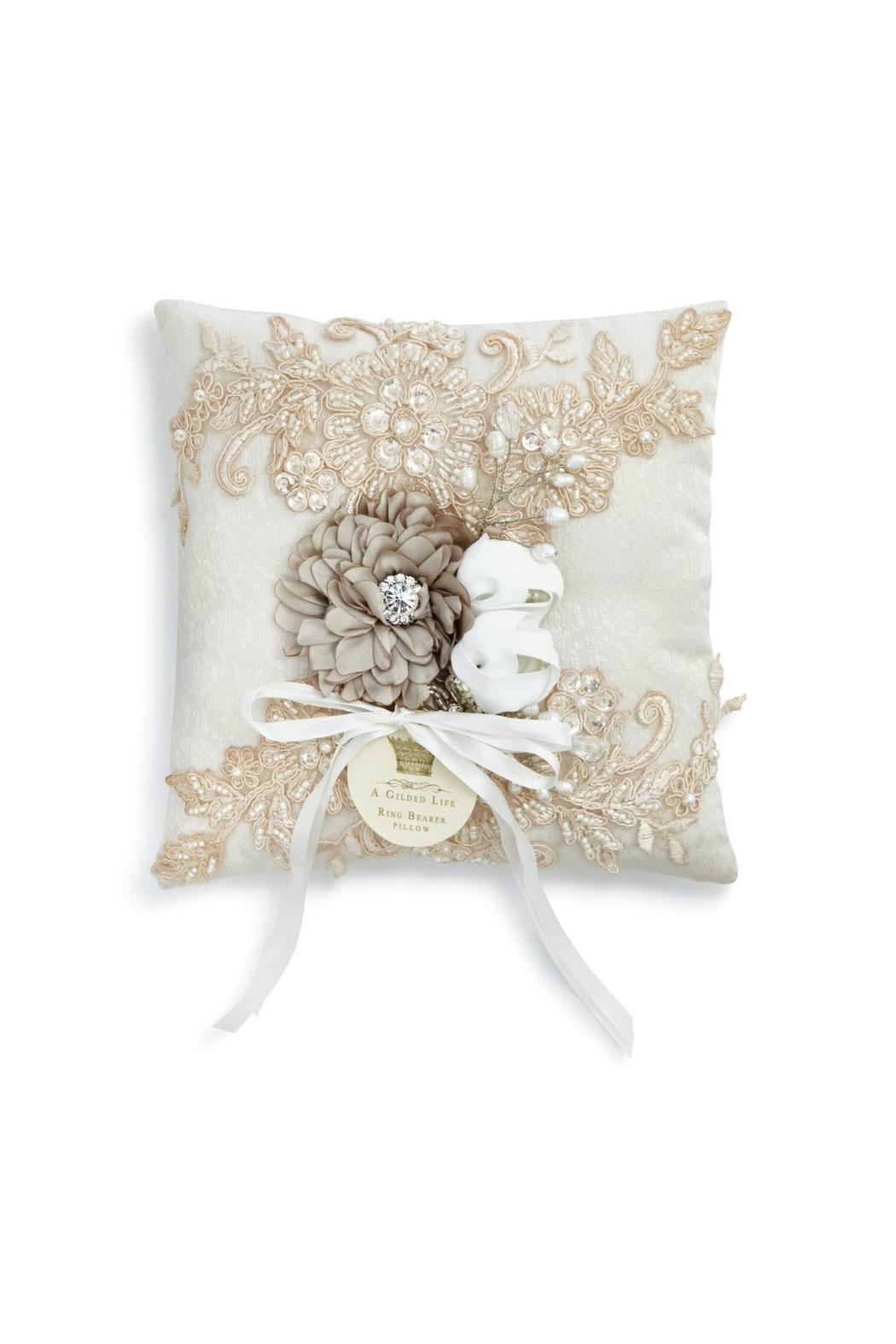 A Gilded Life Ring Bearer Pillow - Front Cropped Image