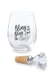 Mud Pie Ring Wine Glass - Product Mini Image